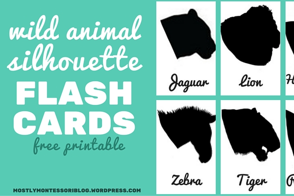 picture relating to Free Printable Silhouettes named Wild Animal Silhouette Flash Playing cards (absolutely free printable) Primarily